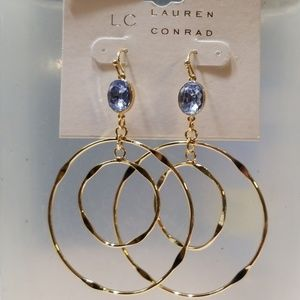 LC Lauren Conrad Double Round Dangle Earrings New